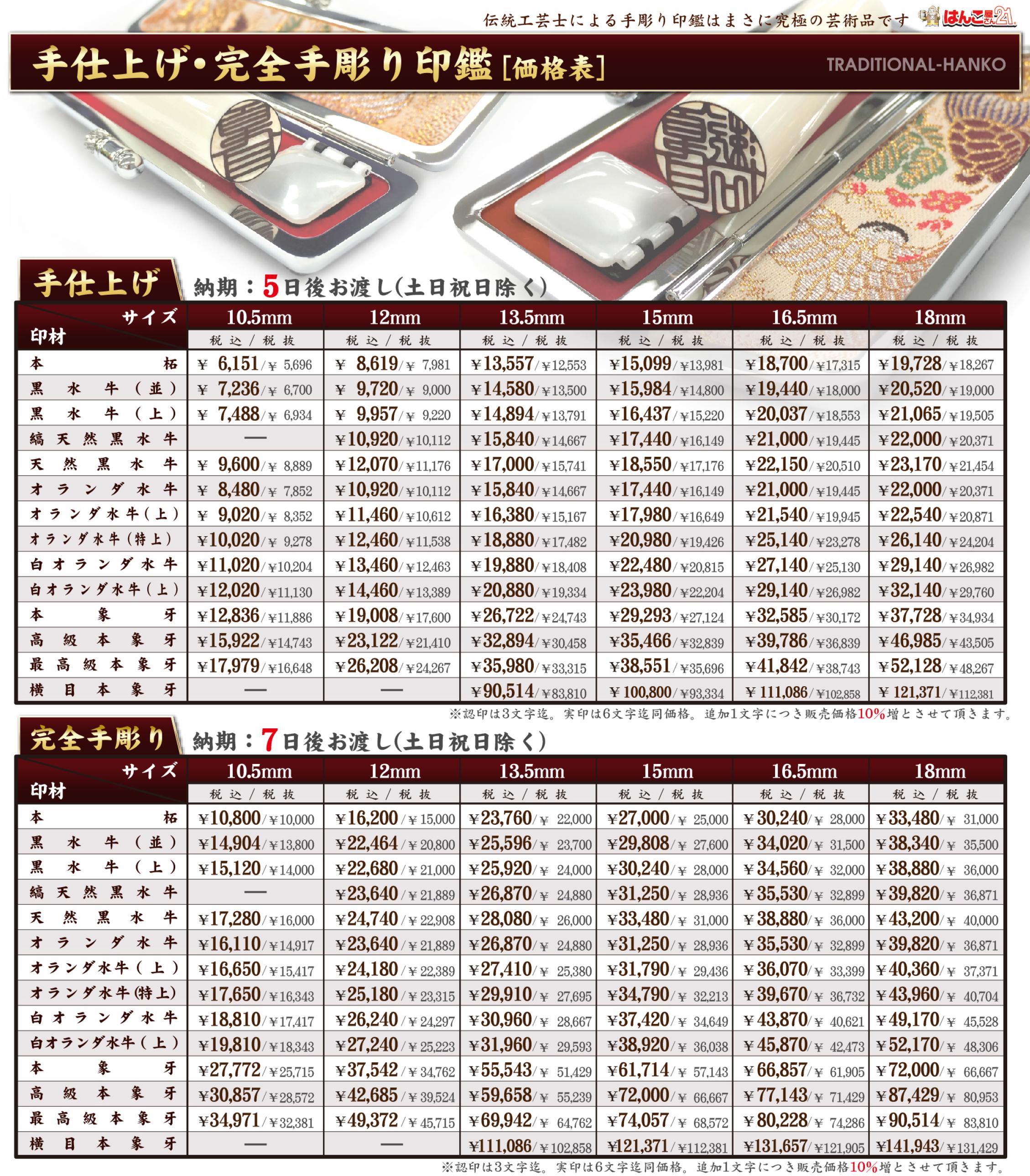 手彫り印鑑の販売価格201802