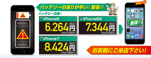 iPhoneバッテリー交換価格A